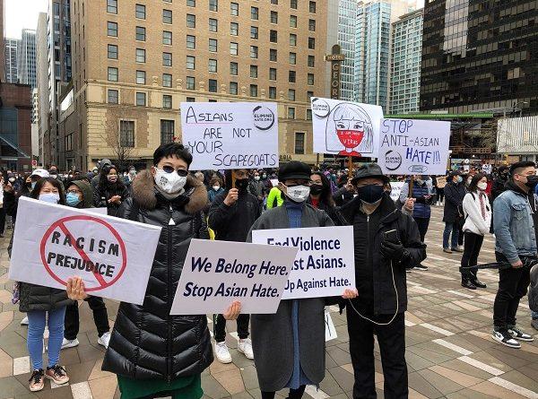 """温哥华上千人参加""""反亚裔歧视""""抗议示威集会"""
